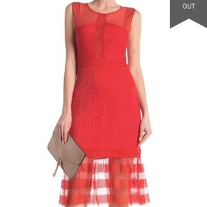 BCBG Orange/Red Lace Midi Dress